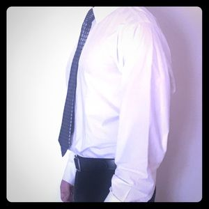 Solid White Express Stretch Fitted Dress Shirt